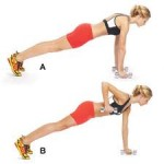 Exercising by doing push up rows for your back